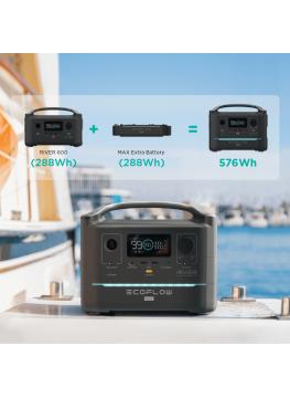 Eco Flow RIVER Max 600W batterie externe solaire modulaire avec batterie supplémentaire