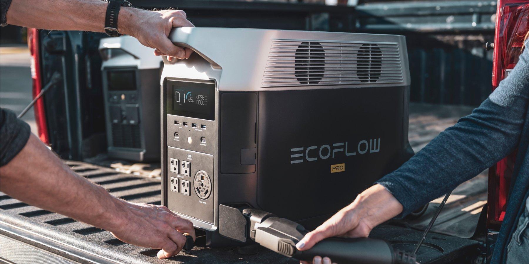 Ecoflow delta pro recharge EV borne électrique outdoor campingcar